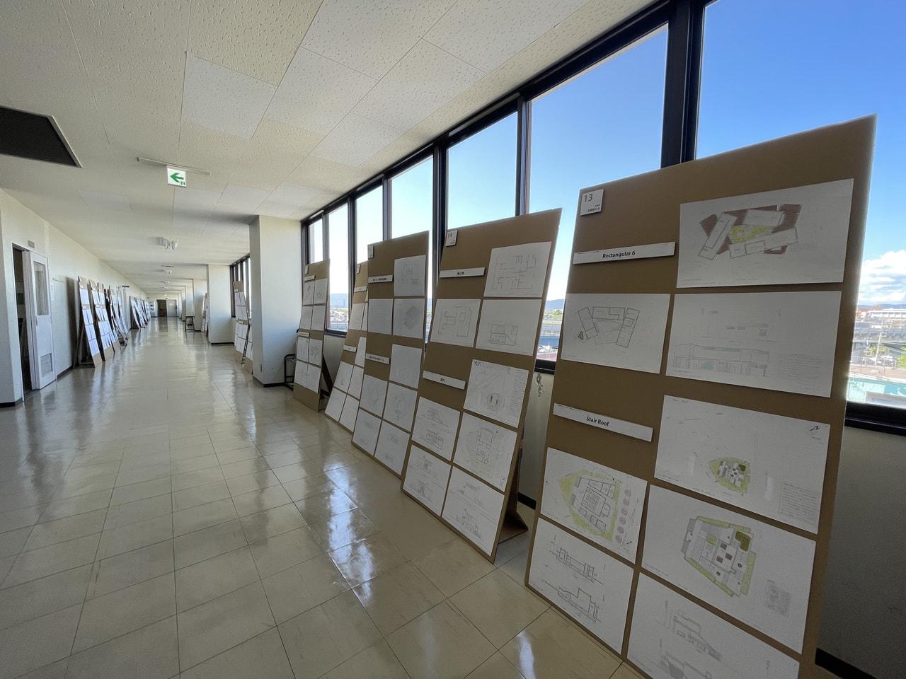 2年生「建築設計製図A」の学内展覧会を開催しています